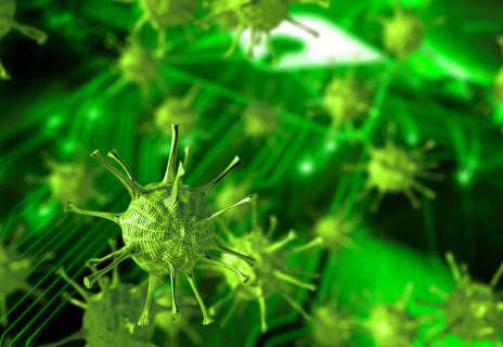 Zeichnung grüner Viren in Nahaufnahme